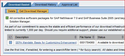 Download basket del Support Portal de SAP