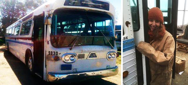 انفقت 3 سنوات من عمرها لتحويل حافلة قديمة الي منزل متنقل