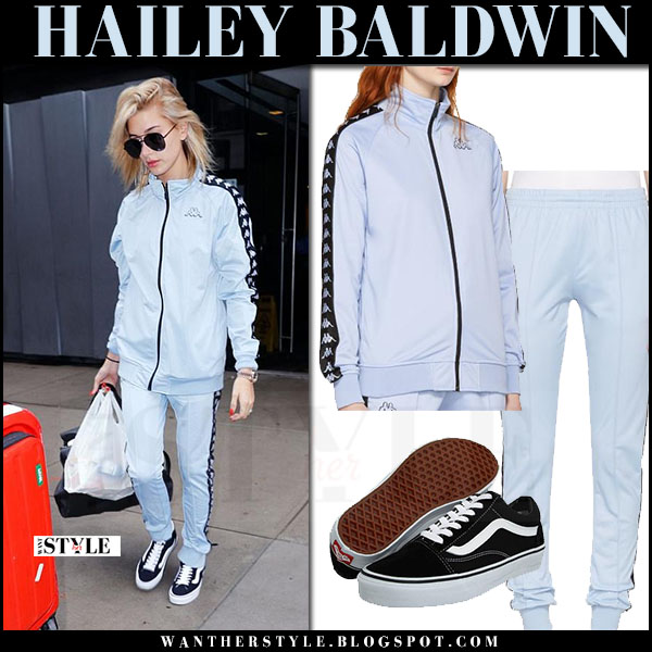 Hailey Baldwin in light blue logo tracksuit kappa x ssense what she wore may 5 2017