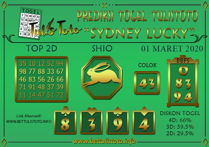 Prediksi Togel SYDNEY LUCKY TODAY TULISTOTO 01 MARET 2020
