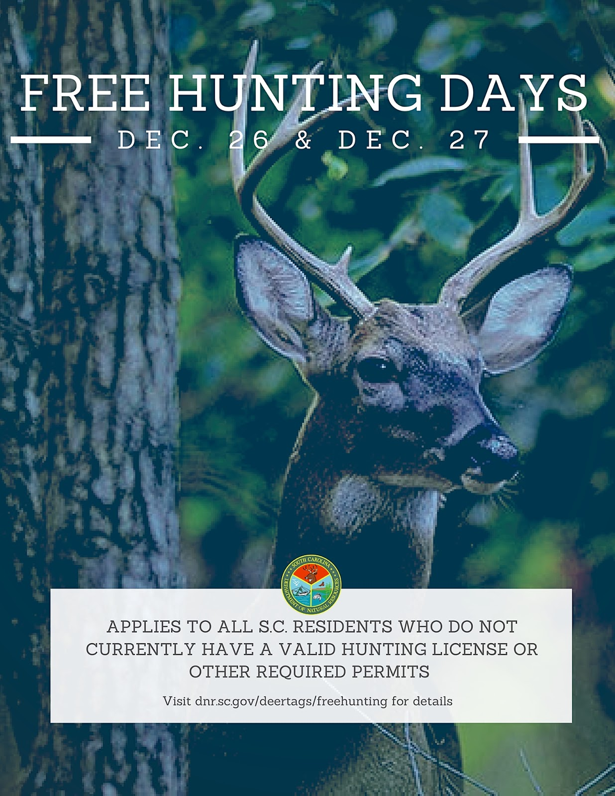 Lowcountry outdoors 2017 scdnr free hunting days for Scdnr fishing license