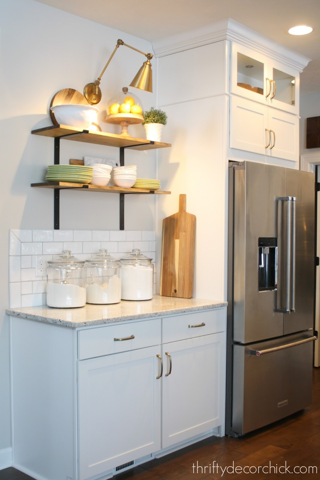 Hanging shelves in the kitchen from Thrifty Decor Chick