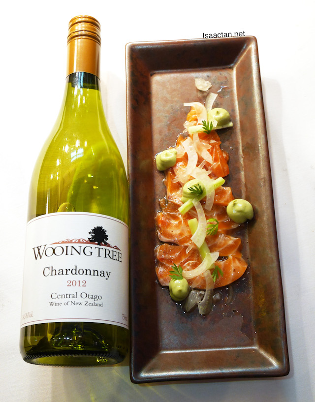 Cured NZ King Salmon paired with Wooing Tree Chardonnay 2012