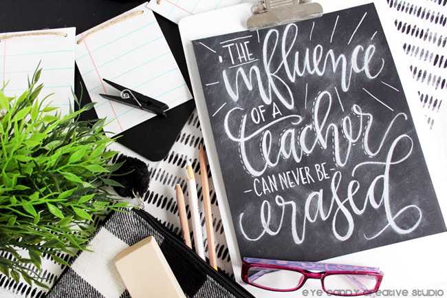 chalk lettering, teacher gift, teacher appreciation, chalkboard, freebie