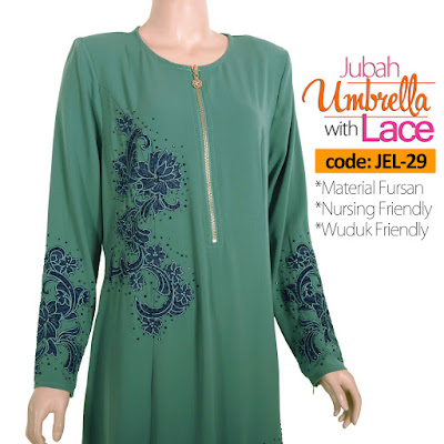 Jubah Umbrella Lace JEL-29 Sea Green Depan 6