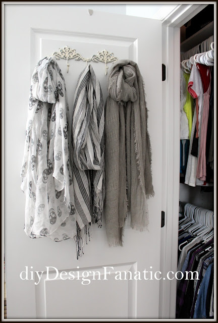 custom closet, closet makeover, organization, organized closet, cottage, cottage style, farmhouse, farmhouse style, shoe storage, scarf storage