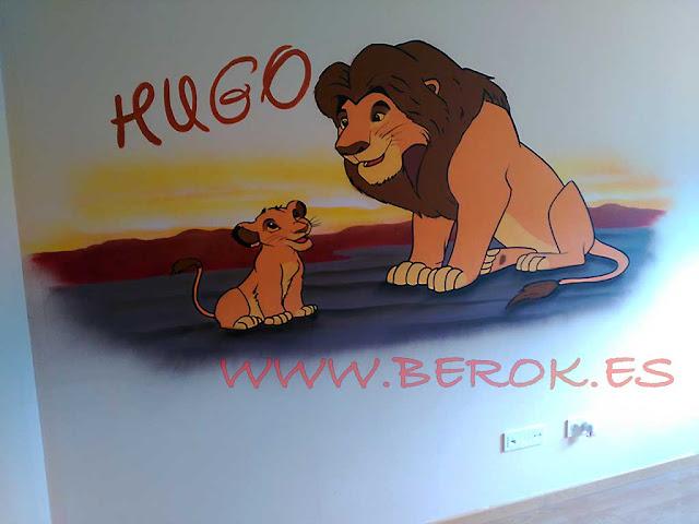 graffiti Simba y su padre Rey León