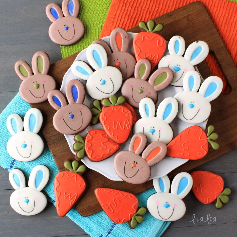 Decorated chocolate sugar cookies for Easter - carrots and bunny cookies