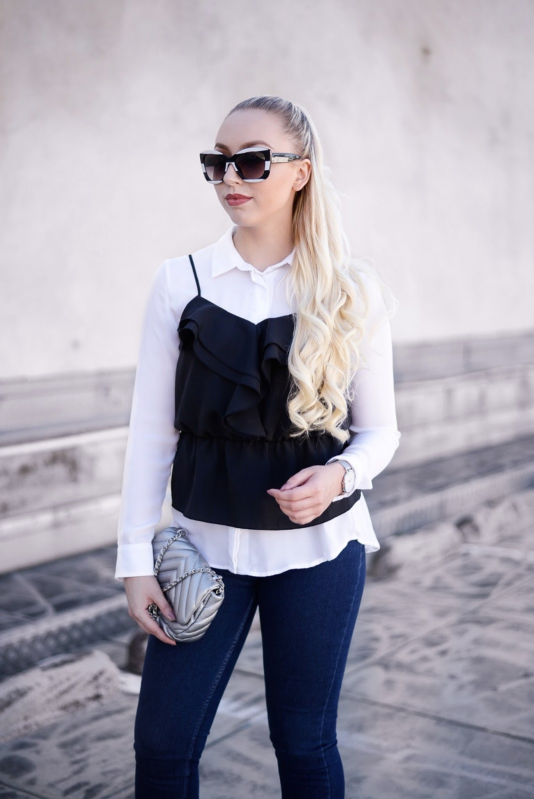 peplum cami over shirt trend