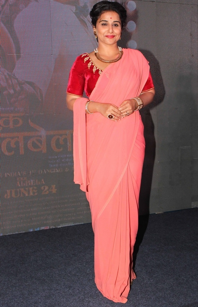 Glamours Bollywood Actress Vidya Balan Hot Long Hair In Pink Traditional Saree