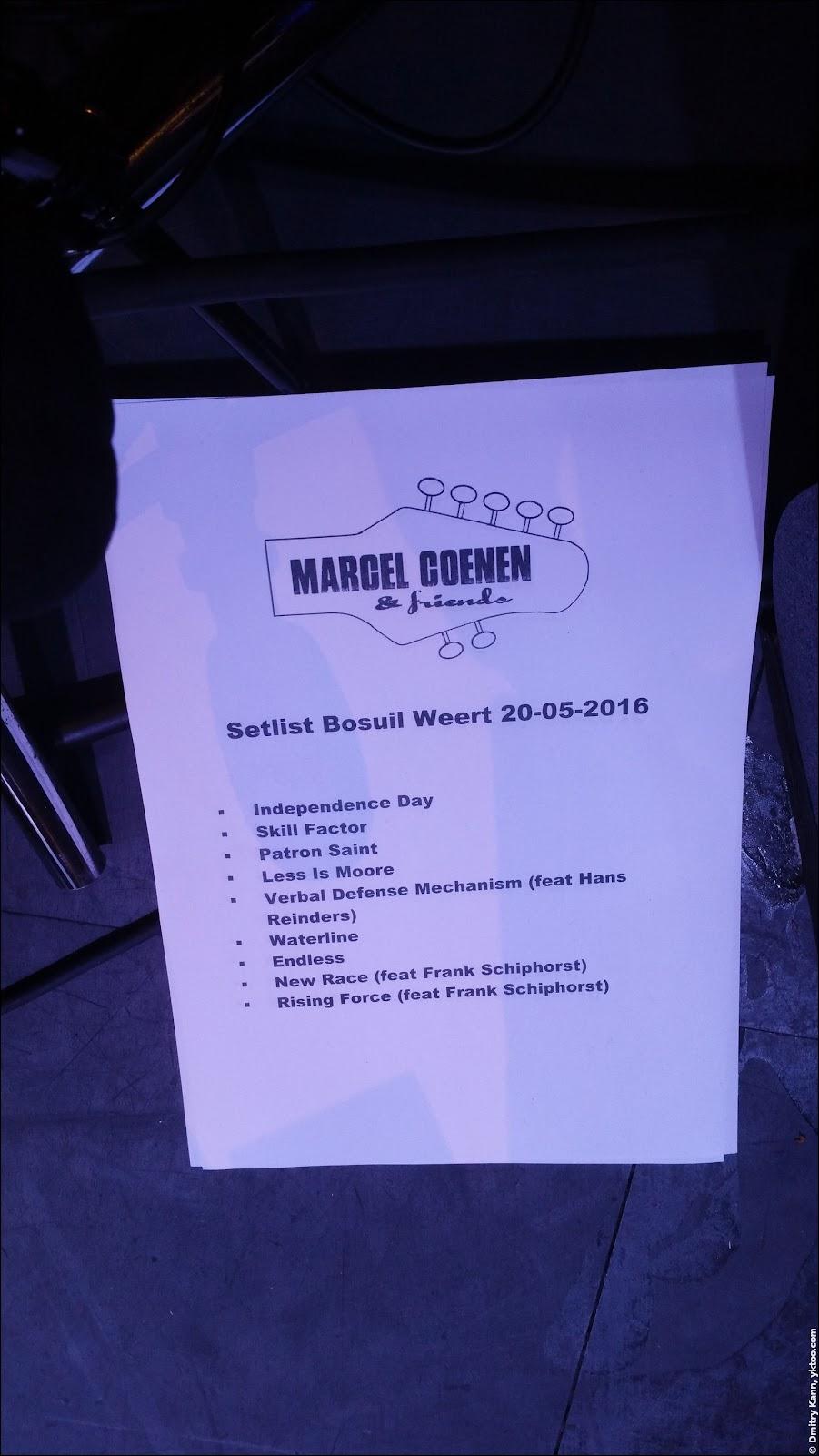 Set-list of Marcel Coenen & Friends.