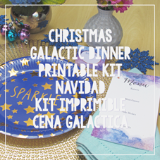 Kit imprimible cena Navidad Noche Buena Galáctica gratuito, free dinner party printable kit, watercolor space galaxy art