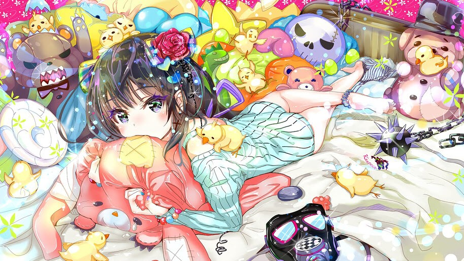 Anime, Cute, Girl, Bed, Stuffed Toys, 4K, #285