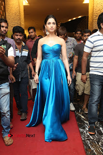 Actress Tamannaah Pictures in Blue Long Dress at Abhinetri Audio Launch  0183.jpg