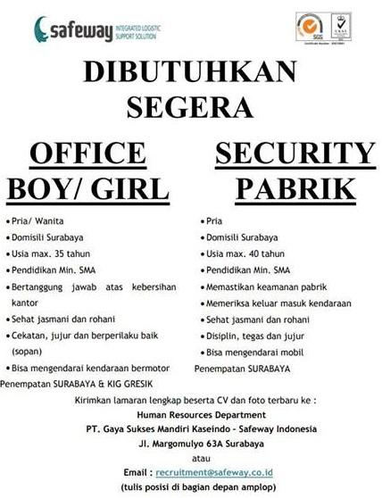 lowongan kerja office boy dan security gaya sukses mandiri kasiendo