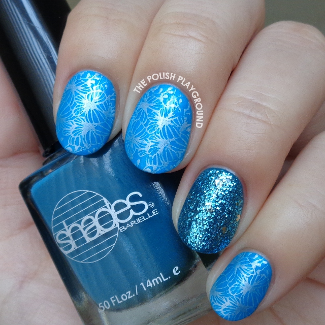 Bright Blue and White Butterfly Clusters Stamping Nail Art