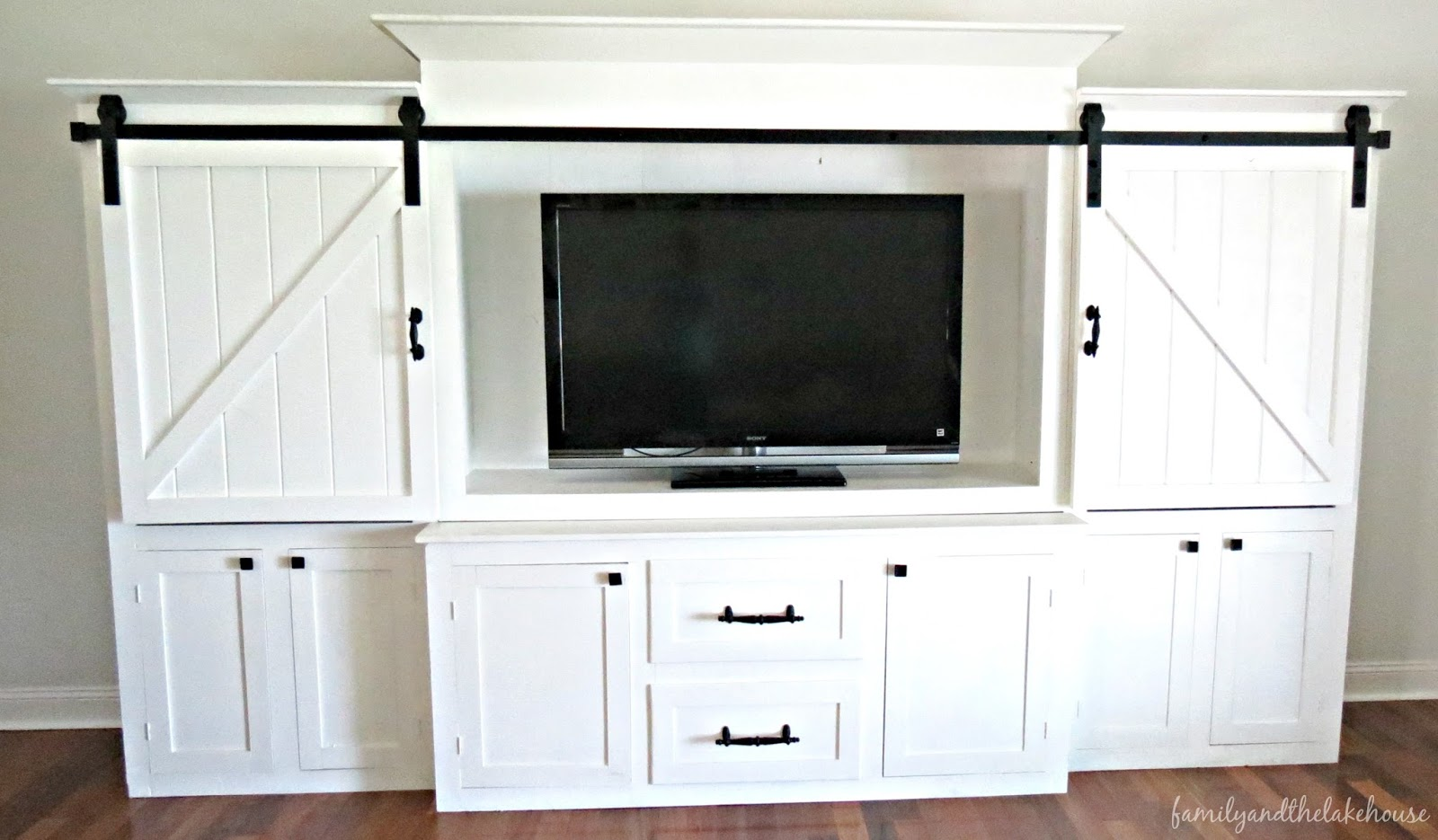 Sliding Barn Door White Entertainment Center Unit Family And The Lake House Www