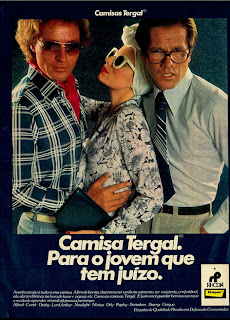 anúncio camisas tergal de 1976, moda anos 70; propaganda anos 70; história da década de 70; reclames anos 70; brazil in the 70s; Oswaldo Hernandez
