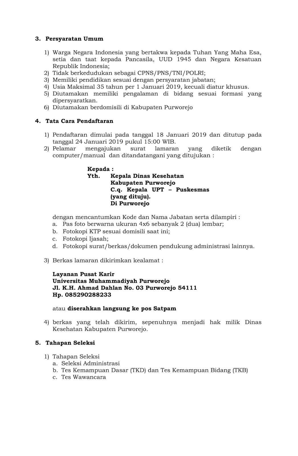 Seleksi Pegawai Non Pns Dinas Kesehatan Kabupaten Purworejo