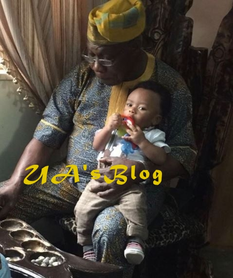Obasanjo Spotted Carrying Tonto Dikeh's Son On His Neck (Photos)