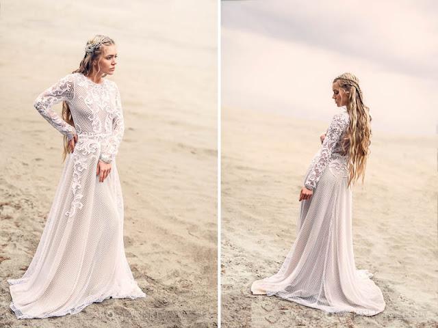 Kunsztowny, koronkowy, długi rękaw sukni ślubnej.