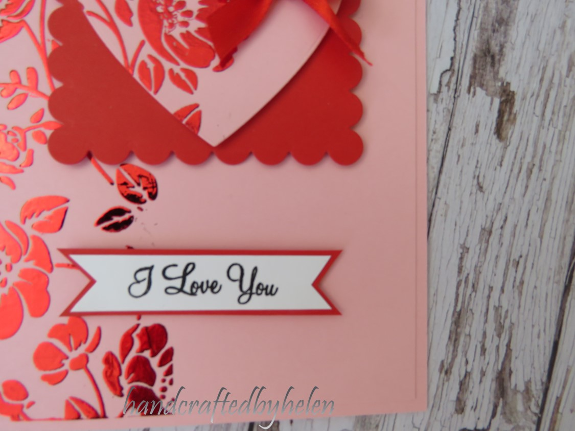 handcrafted by helen foiled valentine card