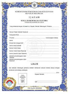 Blangko Ijazah SMP 2018 Kurikulum 2006