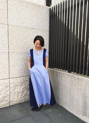 老幫手實穿最美的夜 短袖拼接長洋裝天色藍
