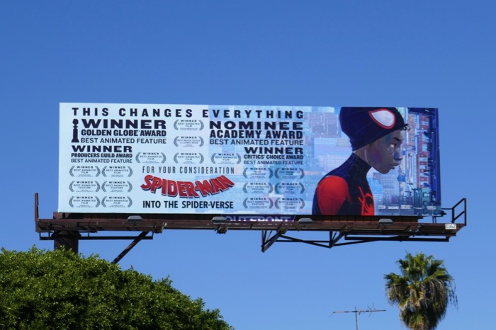 SpiderMan Into SpiderVerse Oscar nominee billboard