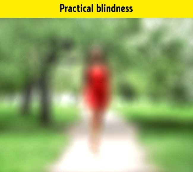 Partial blind people can recognize shapes, colors and light, but they nevertheless see it as blurred. But these people are not blind yet.