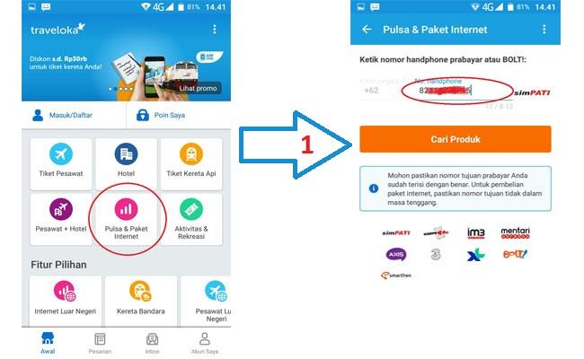 cara pulsa dan paket internet Traveloka via smartphone