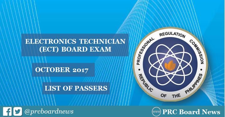 OFFICIAL RESULTS: October 2017 ECT board exam list of passers