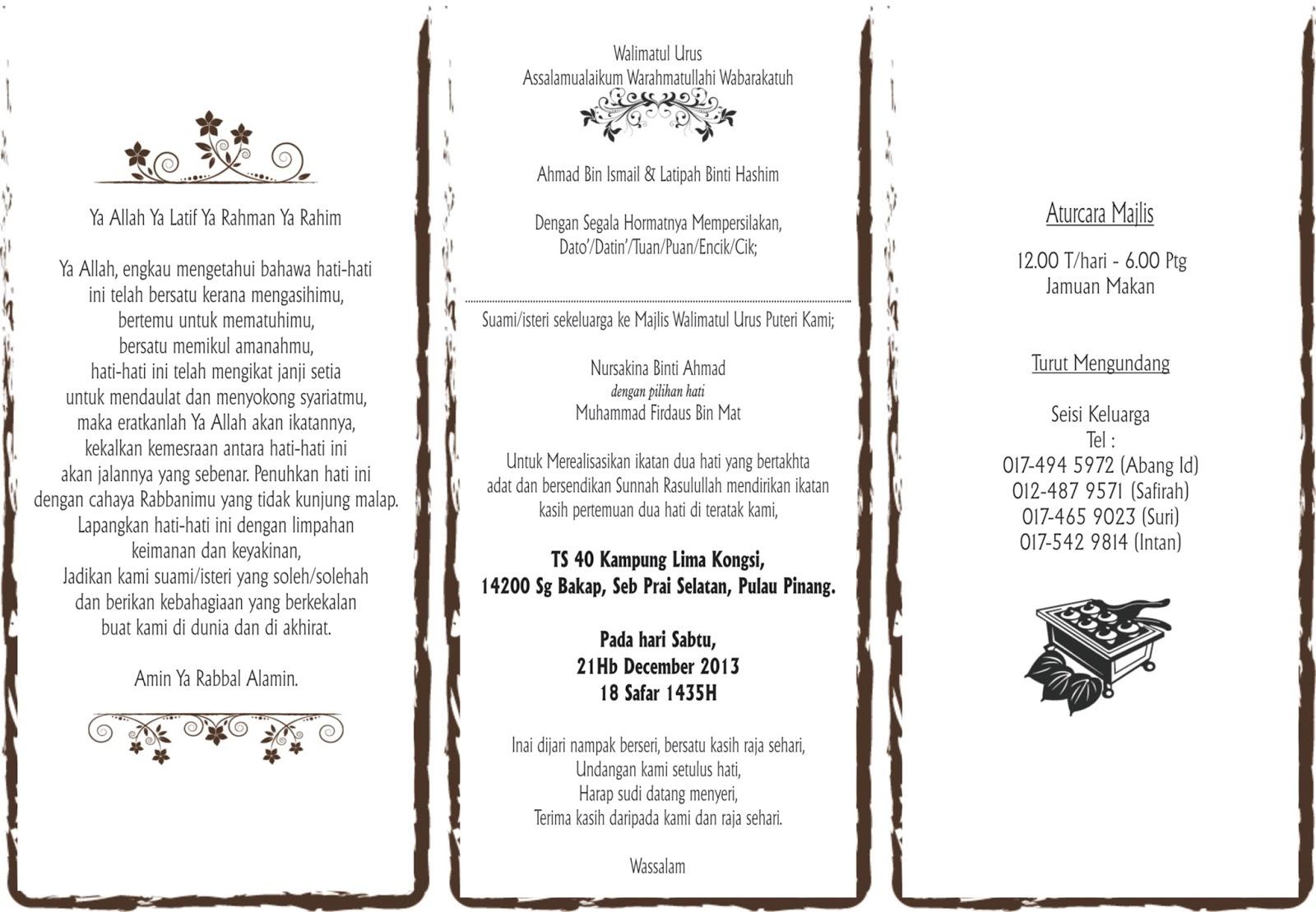 kad jemputan Kad jemputan merupakan satu kad untuk menjemput para hadirin khusnya kaum keluarga, sahabat handai sanak saudara dan sebagainya untuk sama-sama menghadiri dalam satu majlis yang telah.