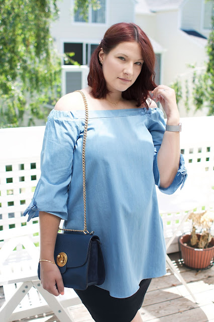 Chloe milly bag, Blue, Chicwish, Maternity ootd, pregnancy blog, fbloggers, red hair