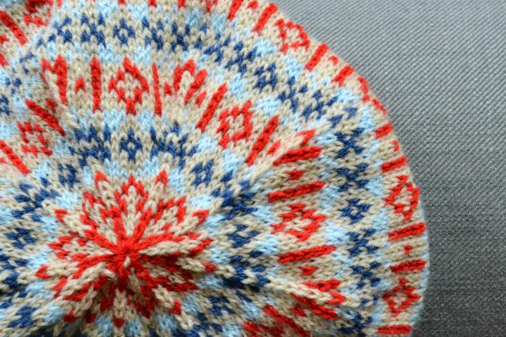 knitted thrift hat shetland wool week beret colourwork