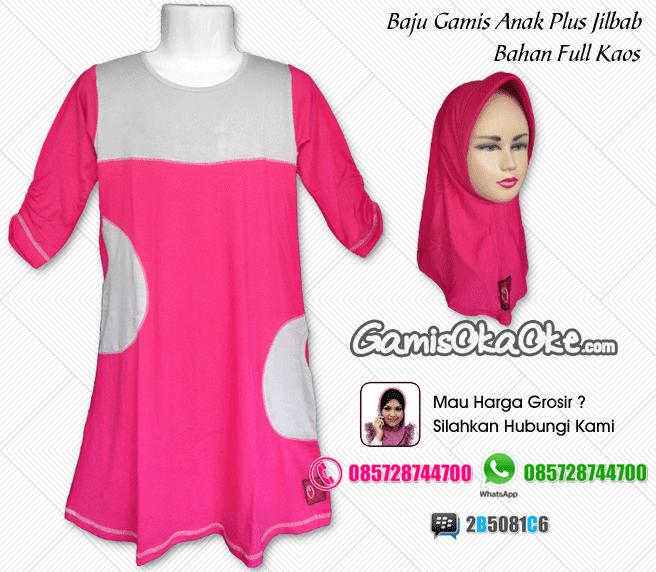 Baju muslim anak perempuan plus hijab dengan bahan full kaos harga murah online