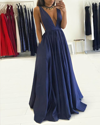 vestido azul largo formal con escote tumblr