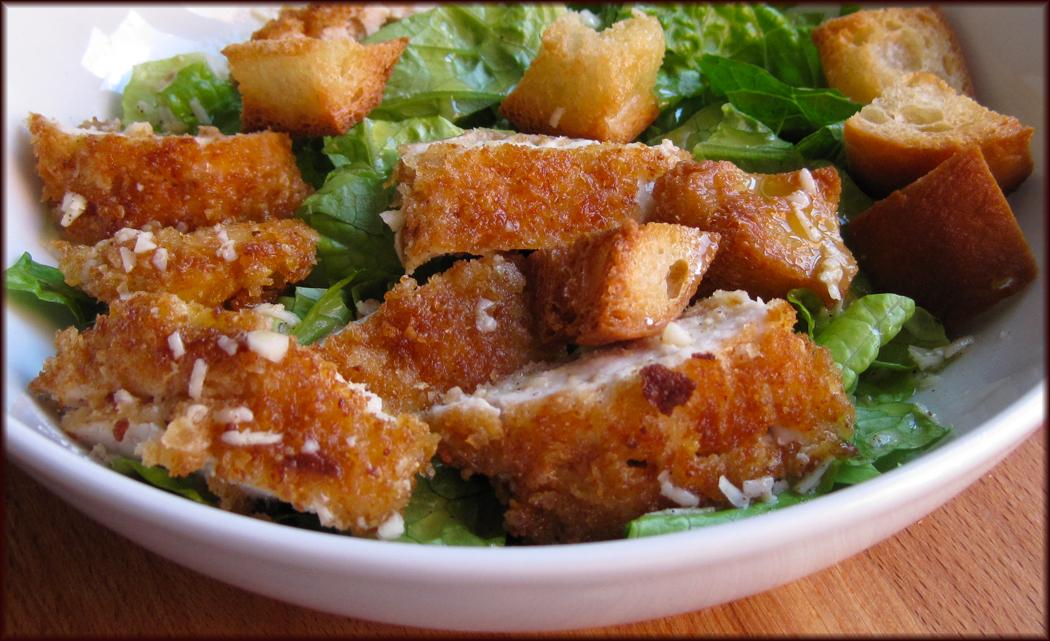 Crispy Parmesan Crumbed Chicken Caesar Salad