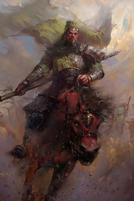 หน้าแดง คิ้วขาว ห่มเสื้อเขียว ใส่เกราะทอง คือรูปลักษณ์ของเทพเจ้ากวนอูในเรื่องสามก๊ก
