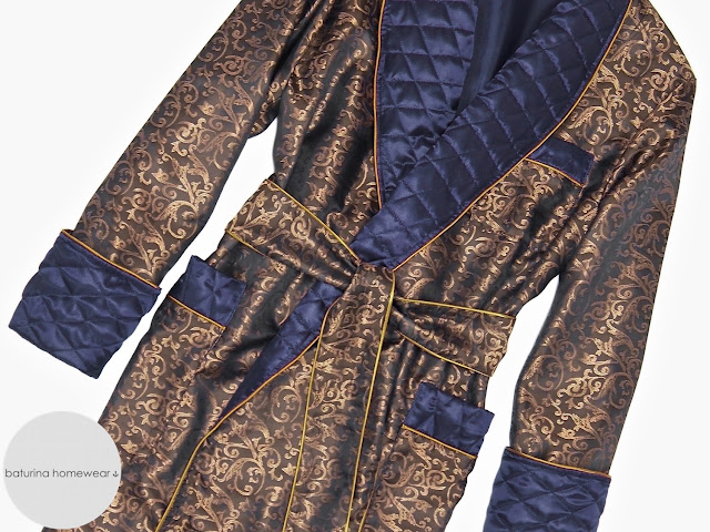mens quilted silk dressing gown robe gold blue paisley smoking jacket