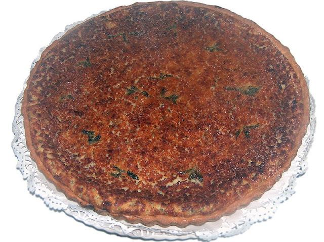 tarte Flao d'Ibiza, dessert au fromage blanc faisselle, menthe, citron, cannelle