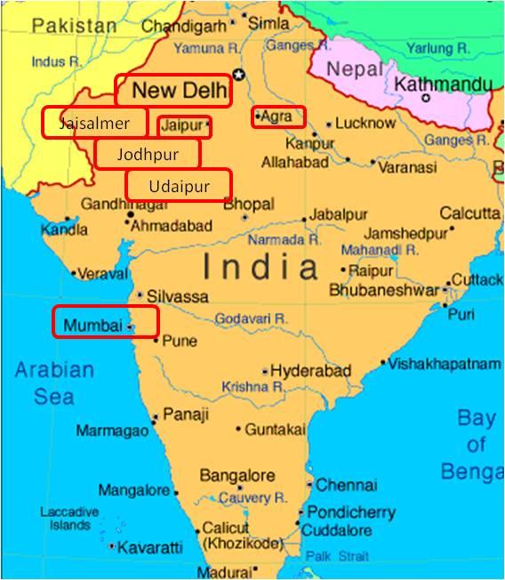 India Del Nord Cartina.India Del Nord Mappa Del Viaggio