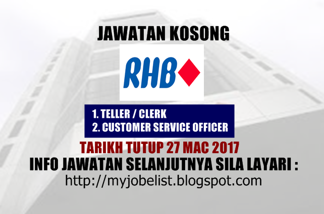 Jawatan Kosong Terkini di RHB Banking Group - 27 Mac 2017