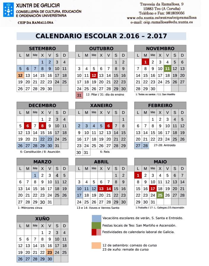 Anpa Rio Tella Calendario Escolar 2016 2017 Ceip A Ramallosa