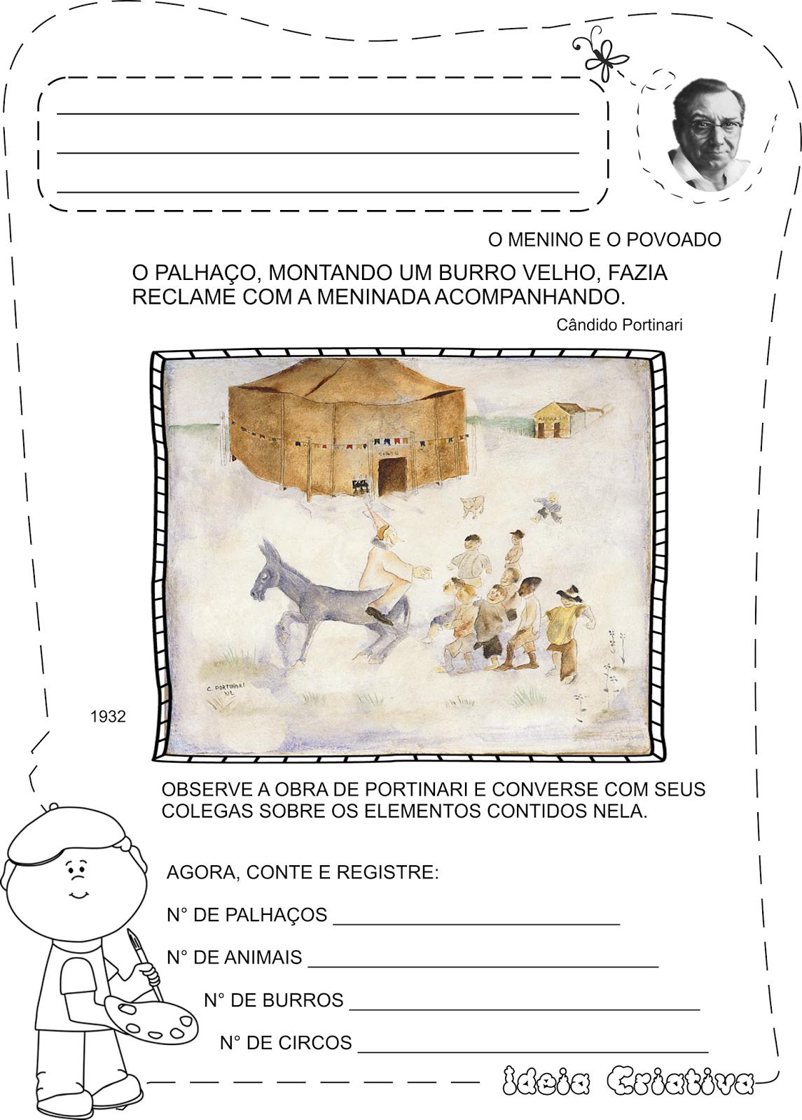 Atividades Cândido Portinari para Crianças O Menino e o Povoado Circo