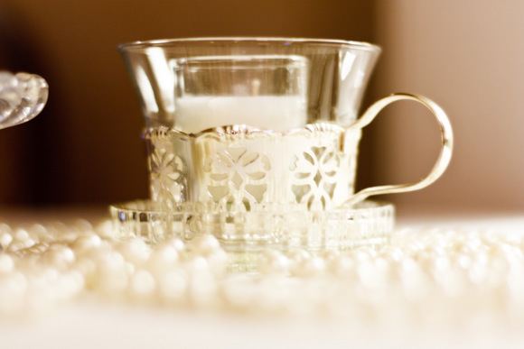 This elegant teacup and pearls are great wedding accents.