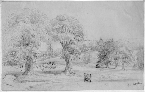 Hatfield from the Rectory c1844 Pencil drawing attributed to Mrs Frances Ruth Faithfull but possibly by Rev James Faithfull. Peter Miller Collection