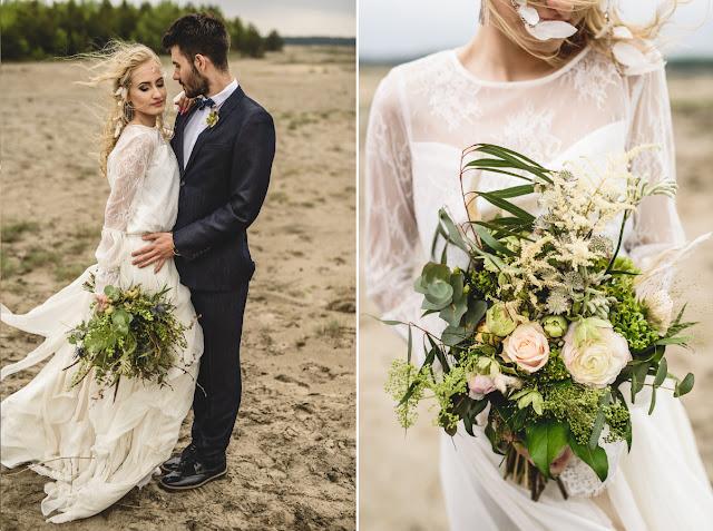 Romantyczny bukiet ślubny boho