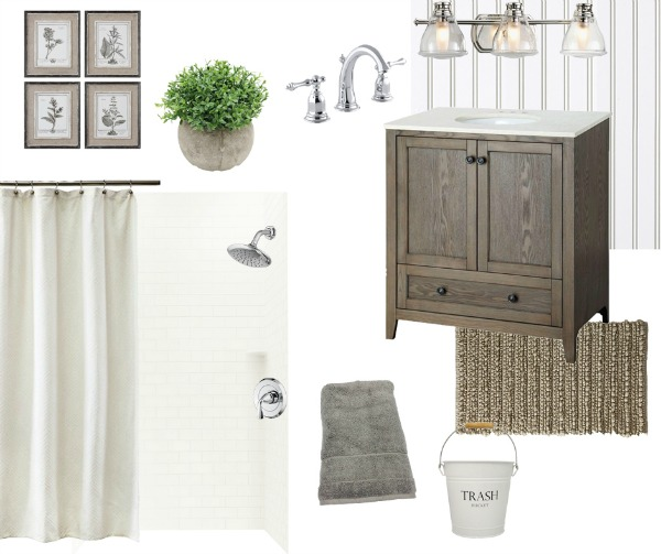 Inspiration mood board for a simple farmhouse style bathroom makeover. Tons of ideas and inspiration for a bathroom renovation in the One Room Challenge.