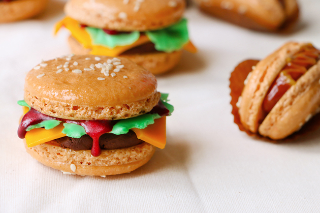 Burgers and Hot Dogs French Macarons